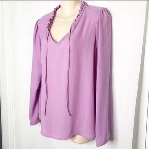 Elle lavender Flowing blouse roll up sleeves w tab